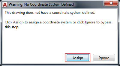 Screenshot of the Warning: No Coordinate System Defined window.