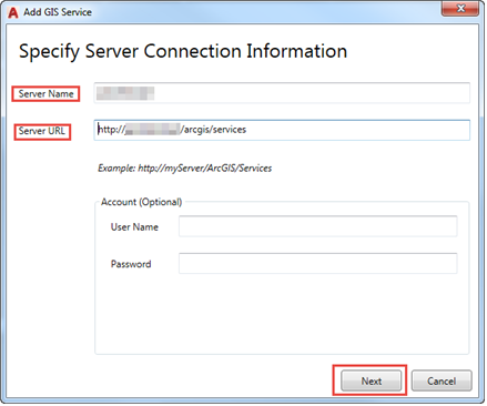 Image of Specify Server Connection Information window
