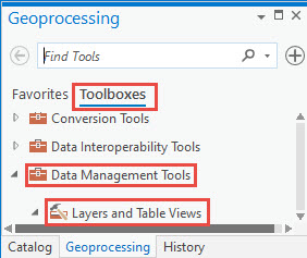 Layers and Table Views option