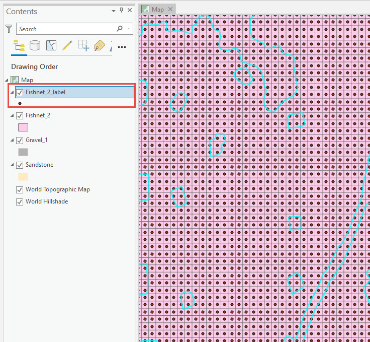 Output of the Create Fishnet tool