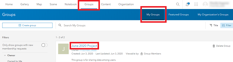 Image showing how to open the desired group in ArcGIS Online.