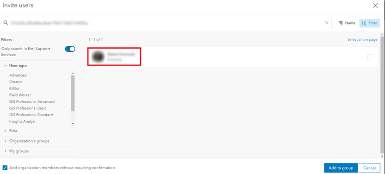 Image showing the name and username of users displaying in the search result.