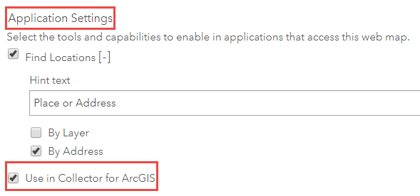 Application settings section