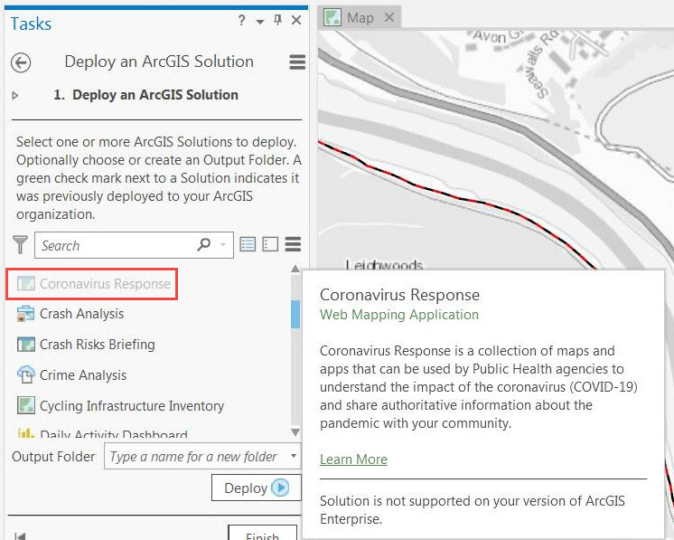 Screenshot of ArcGIS Pro with the Coronavirus Response solution greyed out in the Deploy an ArcGIS Solution pane