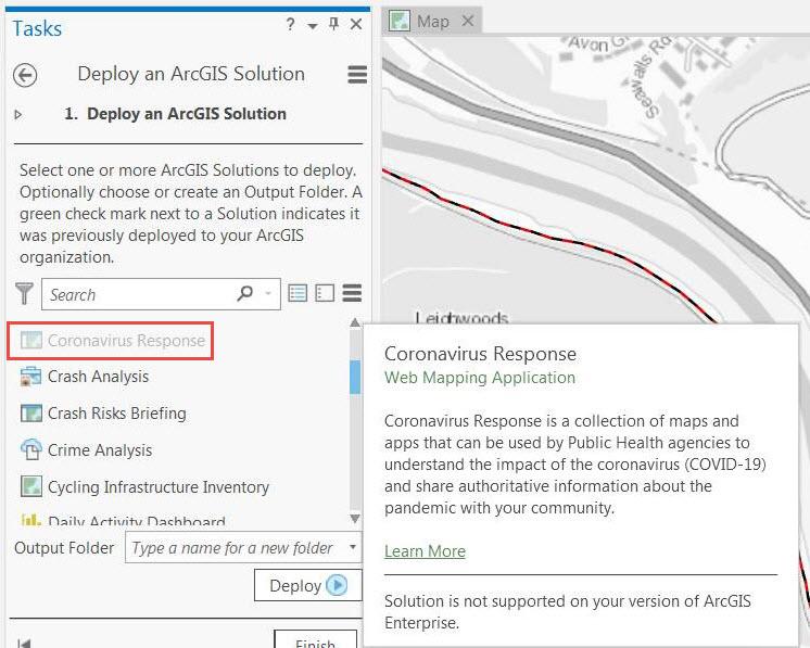 Captura de pantalla de ArcGIS Pro con la solución de Coronavirus Response oscurecida en el panel Implementar una solución de ArcGIS
