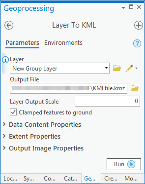 An image of the Layer To KML pane.