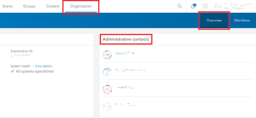 Image showing the Administrative contacts section on ArcGIS Online for users with limited privileges.