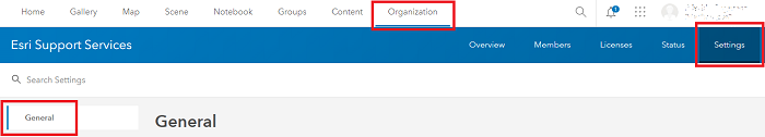 Image showing the section to navigate to for Administrative contacts on ArcGIS Online for administrators.