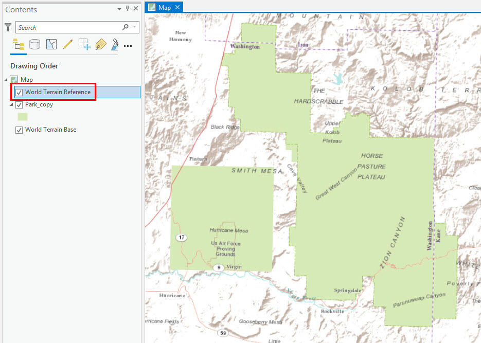 Image of the basemap labels overlaying features in ArcGIS Pro.