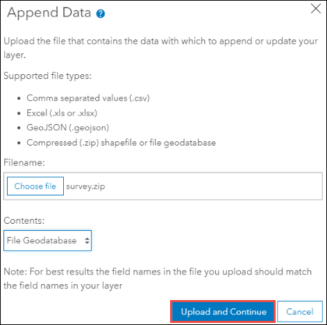 Upload and Continue in the Append Data window