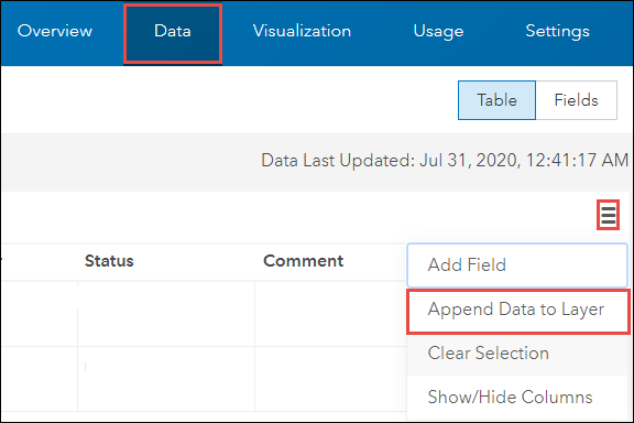 Append Data to Layer in the Data tab