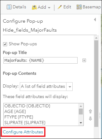 Image of the Configure Pop-up pane