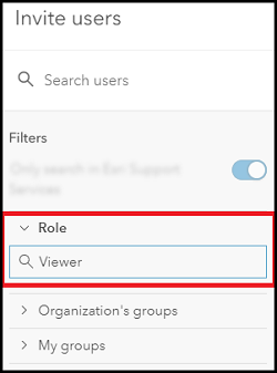 No results when filtering to search for users with a Viewer role in the Invite users window.