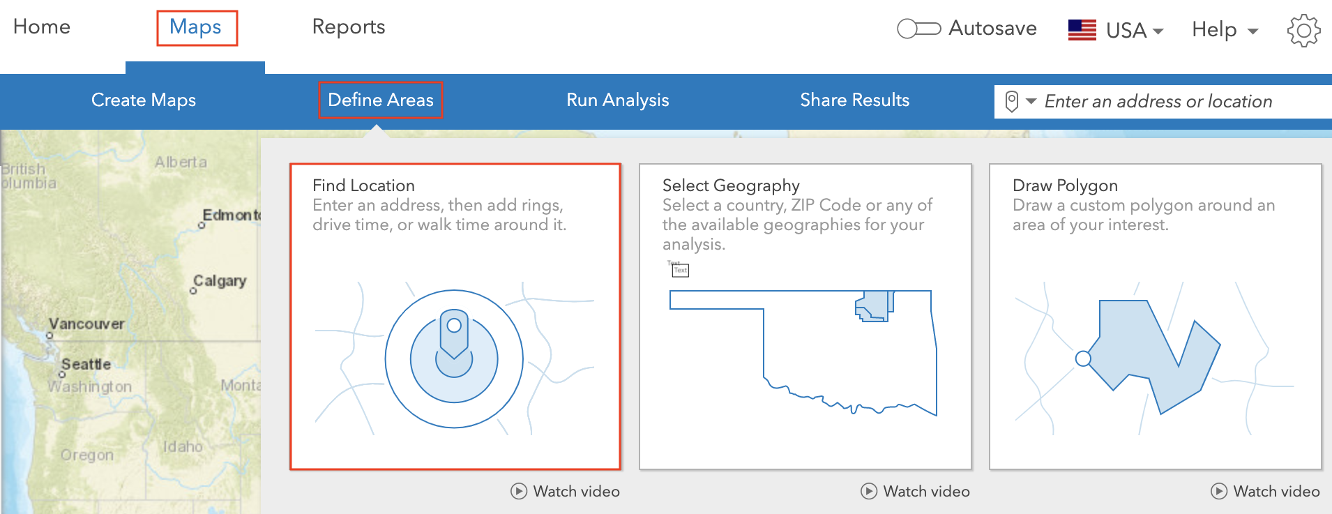 Find Location in ArcGIS Business Analyst.