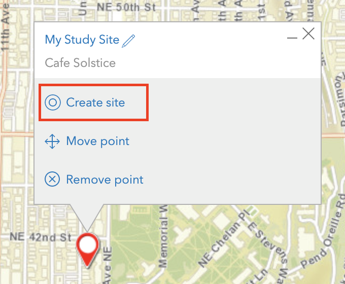 Create site in ArcGIS Business Analyst.