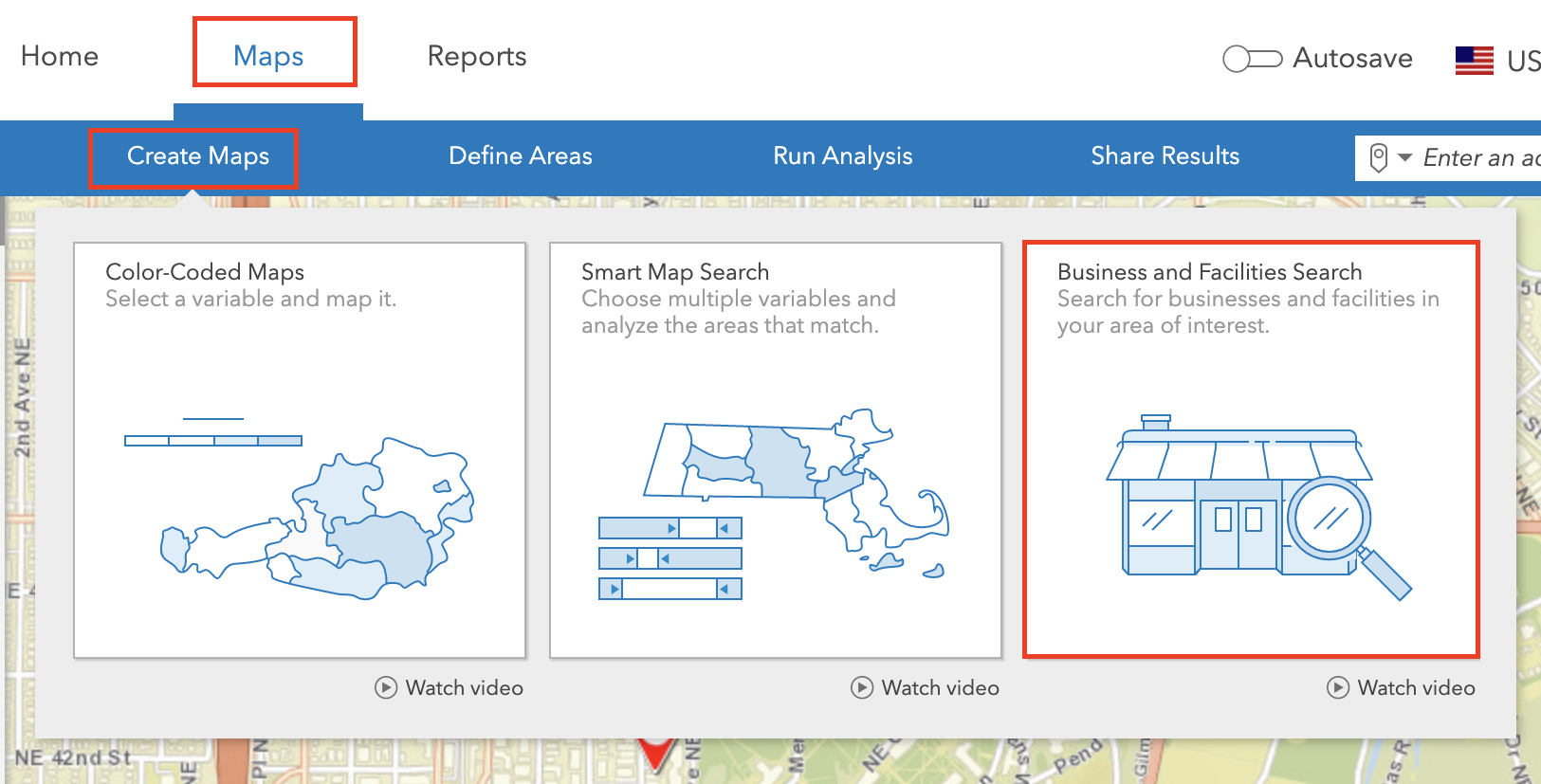 Business and Facilities Search in ArcGIS Business Analyst.