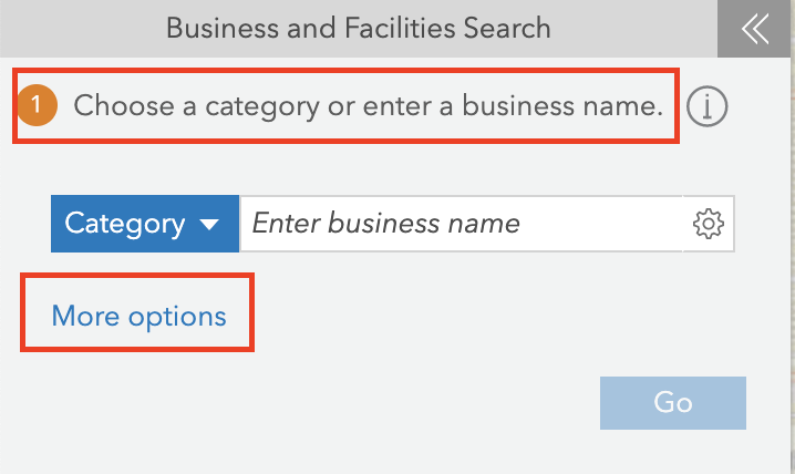 The Business and Facilities Search pane in ArcGIS Business Analyst.