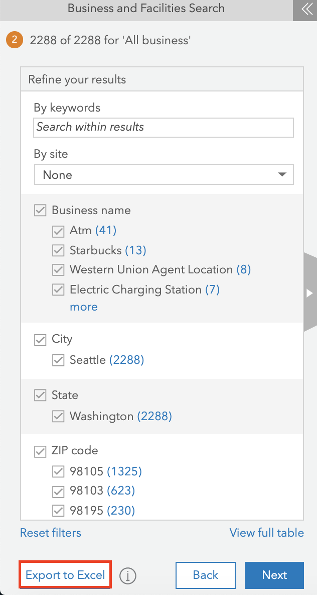 Business and Facilities Search pane in ArcGIS Business Analyst.