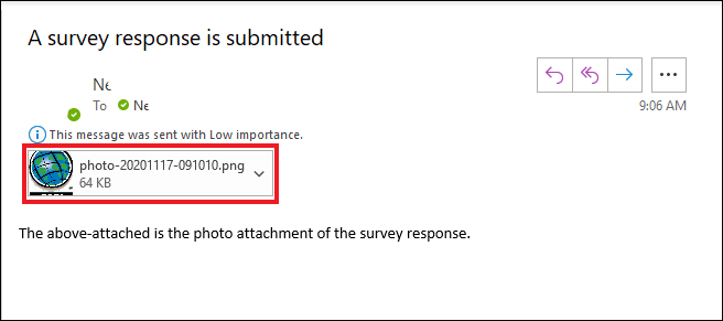 Image of an automated email notification with the survey photo attachment included