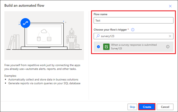 Image of the Build an automated flow window in Microsoft Power Automate