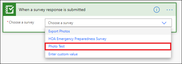 Image of the When a survey response is submitted action