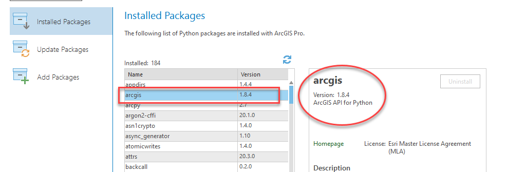 Python Project environment refreshed showing package versions