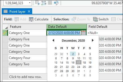 Image of the attribute table in ArcGIS Pro