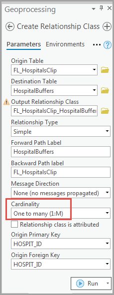 Image of the Create Relationship Class pane