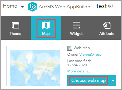 Image of selecting Choose web map in the Map tab