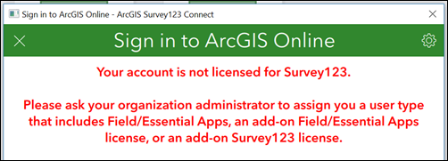 The Error message in ArcGIS Survey123 Connect