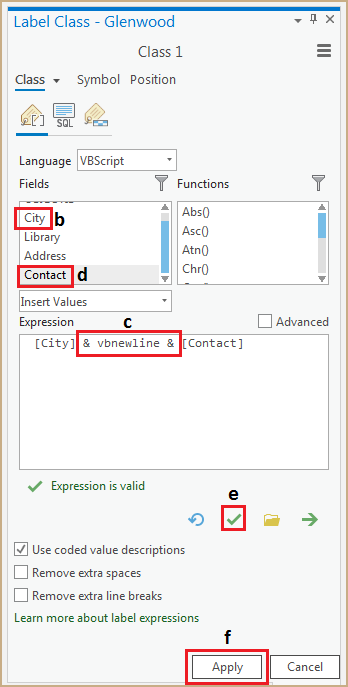 Capture d'écran illustrant la procédure de création de l'expression d'étiquette.