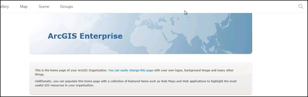 The Sign In option is unavailable on the ArcGIS Enterprise portal's home interface page