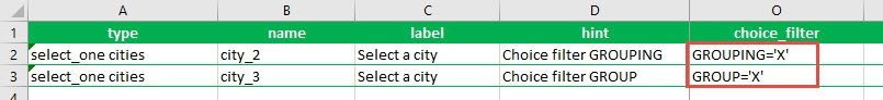 The XLSForm of the survey showing one question using the GROUPING column and the GROUP column in the choice filter