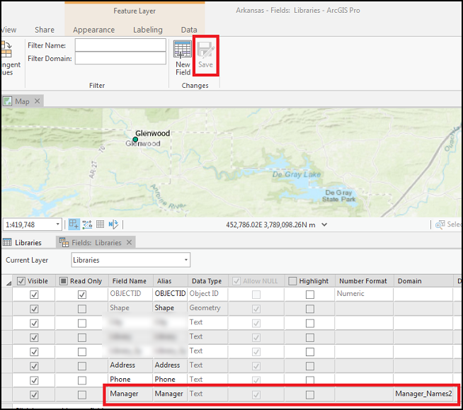 The Fields view displaying the Manager_Names2 domain successfully assigned to the Manager field in ArcGIS Pro.