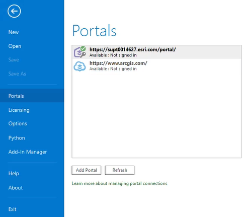 The ArGIS Pro Portal page showing Not signed in