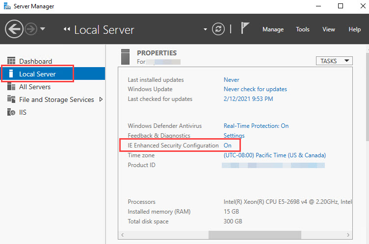 Launch Server Manager with an administrative account. Select Local Server, and search for IE Enhanced Security Configuration. Click the On option to modify the necessary settings.