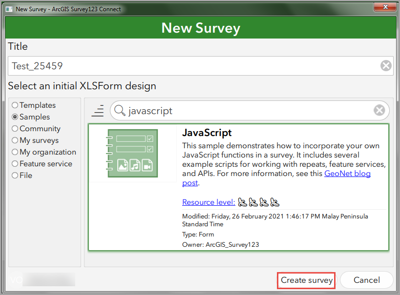 Selecting the JavaScript sample in ArcGIS Survey123 Connect.