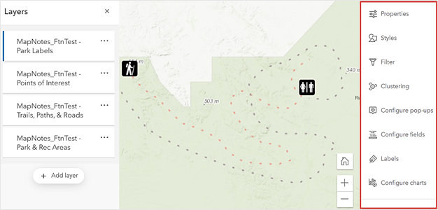 The enabled Settings toolbar in ArcGIS Online Map Viewer.