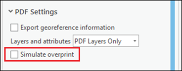 Check and uncheck the Simulate overprint check box to enable the Export georeference information check box.