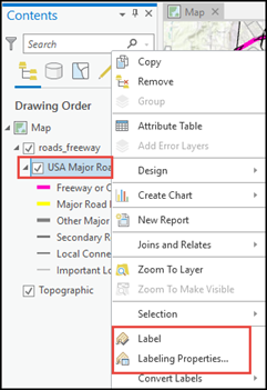 The layer's Contents pane with the option to Select Label Properties
