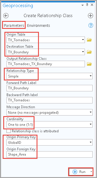 Selecting the desired options for all of the sections in Parameters to create a relationship class.