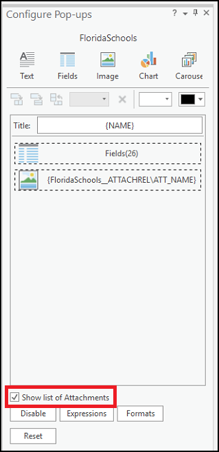 The Configure Pop-ups pane displays the 'Show list of Attachments' option.