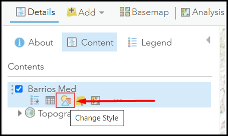 The Content pane showing the Change Style option