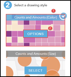 The Change Style pane to select Counts and Amounts