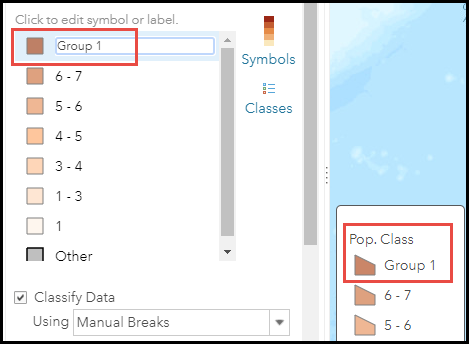 The modified labels in Counts and Amounts symbology