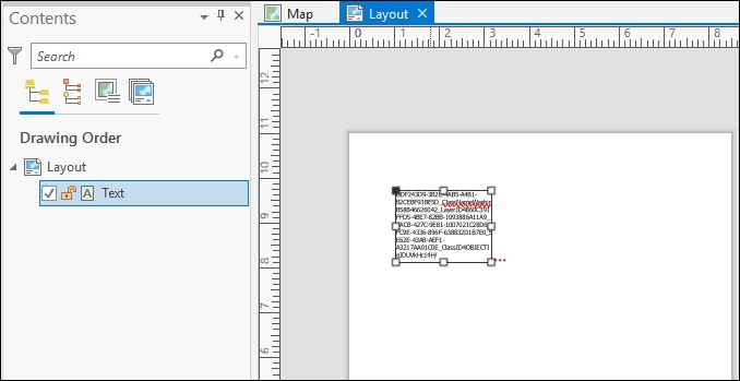 The layout in ArcGIS Pro displaying the pasted features that become text.