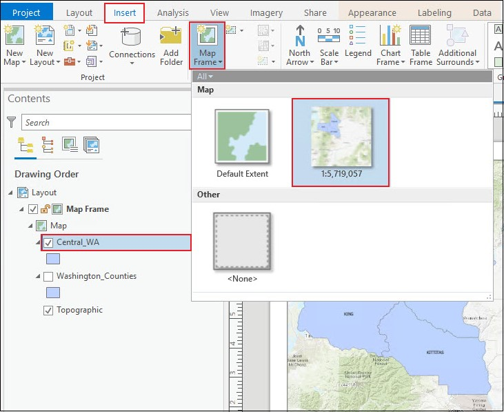 The layers in the Map Frame drop-down menu selected to be added to the layout.