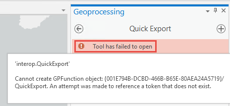 The Quick Export tool pane with the error message