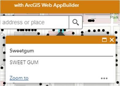 Pop-up of the same point, with only the pop-up name, Sweetgum displayed in the ArcGIS Web AppBuilder web app.