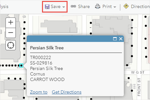 The Save Map button is at the top of the web map. One of the point for the hosted feature layer in Map Viewer Classic displays the pop-up with five fields displayed in the pop-up.